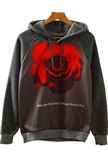 Women Fashion Jersey Long Sleeve Pullover No Pocket Rose Printed 3D Hoodies
