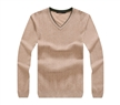 V-neck men pullover wool cashmere blend fabric sweater