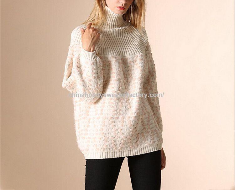 Favoloso Promozionale Allentato dolcevita di lana fatto a mano maglione di  TW79