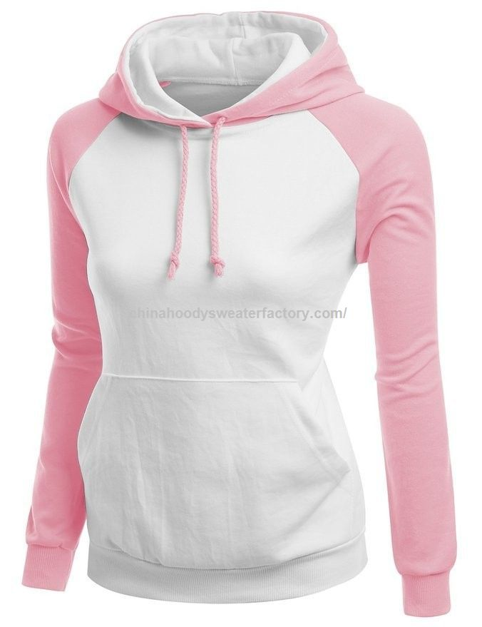 Wholsale Women Plain Blue Pullover Hoodie with High Quality