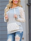 Latest design lace sleeve joining hoody womens fashion autumn hoody