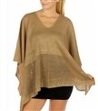 Oversized v neck metallic woman acrylic hollow poncho