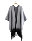 fringed hem cardigan oversized knit Poncho sweaters for women