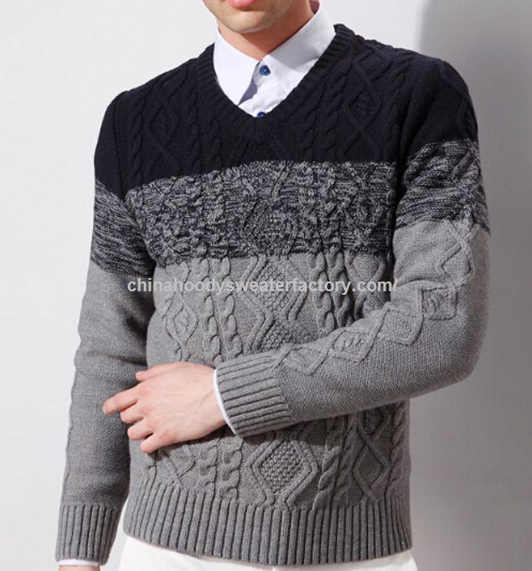 V neck 3 colors combined latest mens winter sweater