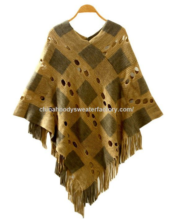 V Neck Batwing Stripes Fringed Stitching Irregular Tops Poncho Shawl Cape Sweater