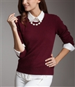 round neck cashmere sweater women pure cashmere knit long-sleeved shirt