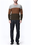 man colorful v-neck cashmere sweater