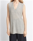 Lady lightweight easy-fit sleeveless cashmere deep V neck sweater