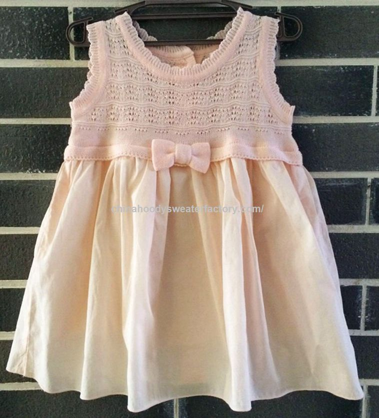 Designed Pink Pullover Skirt Tail Girls Sleeveless Sweater