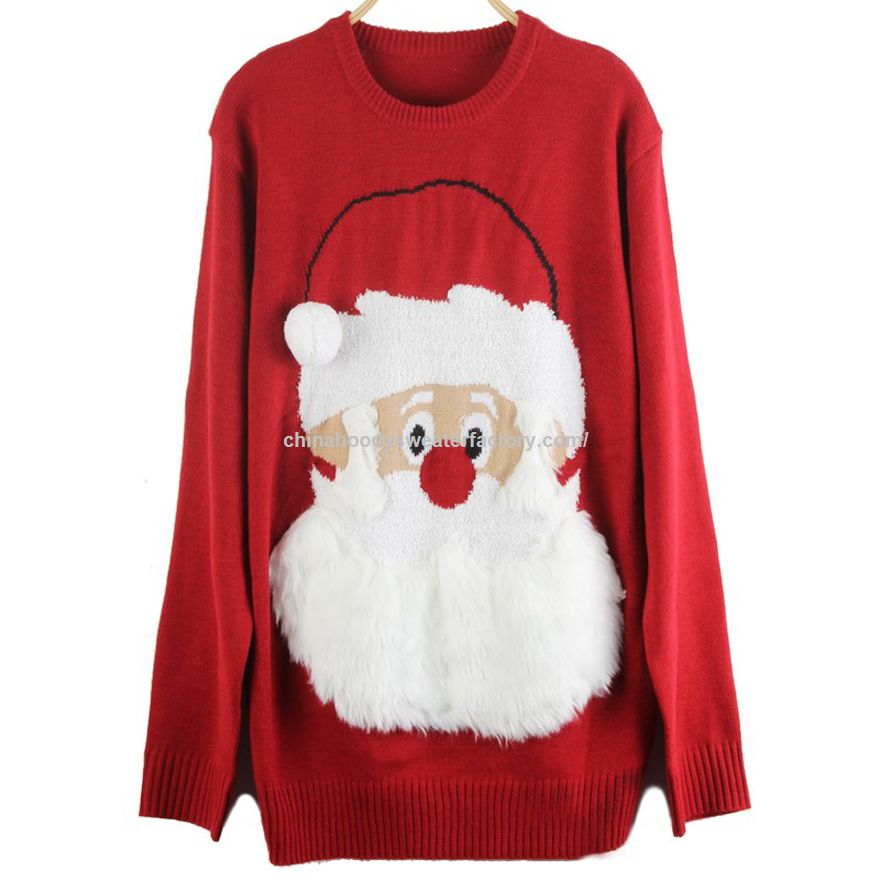 Oversized 3d red Cute Santa pullover women ugly christmas sweater