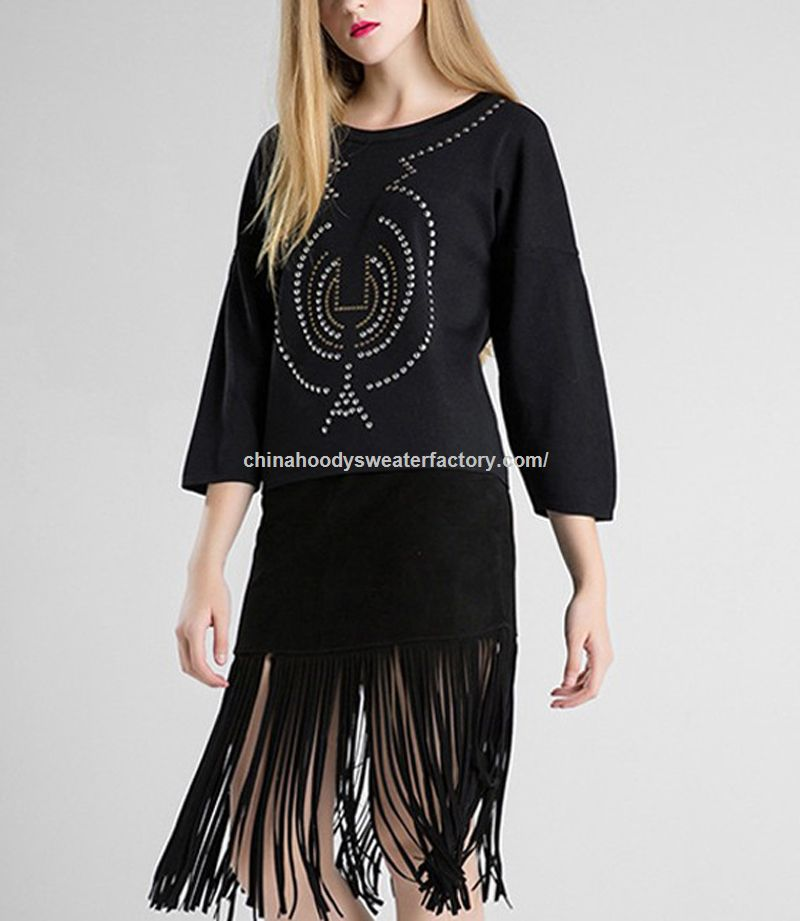 Unique Oversized Cotton Knitting Beaded Sweaters Women Style