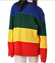 oversize drop shoulder sleeve multi-color block crew neck sweater