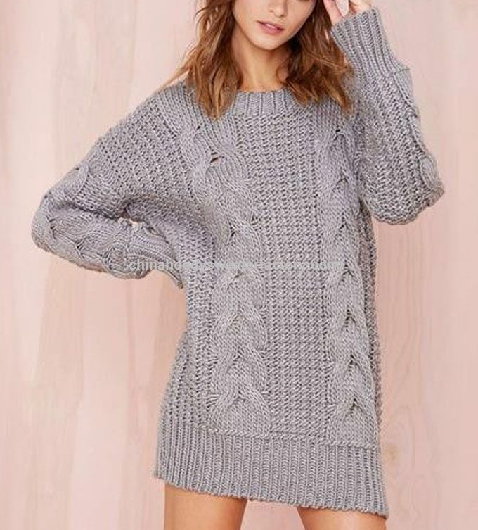vintage style twist knitted dress style loose long sweater