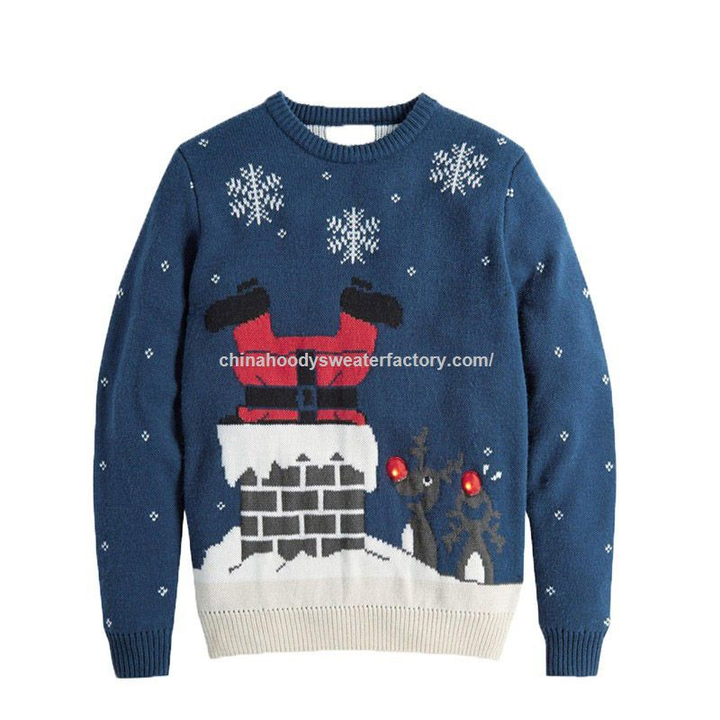 blue long sleeve ugly christmas sweater