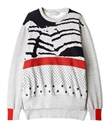 custom print distorted knitted striped zip sweater wholesale crewneck