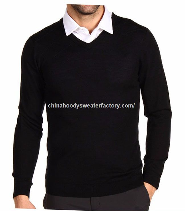V-neck machine knitted patterns cheap men woolen sweater design