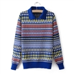 EUROPEAN PRINTED POLO NECK WOMEN'S KNITTED SWEATER