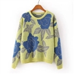 pullover loose knit long sleeve floral print high-end woolen famale sweater
