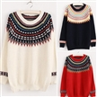 OEM Service Cute O neck Girls Pullover Printed Knitted Sweater