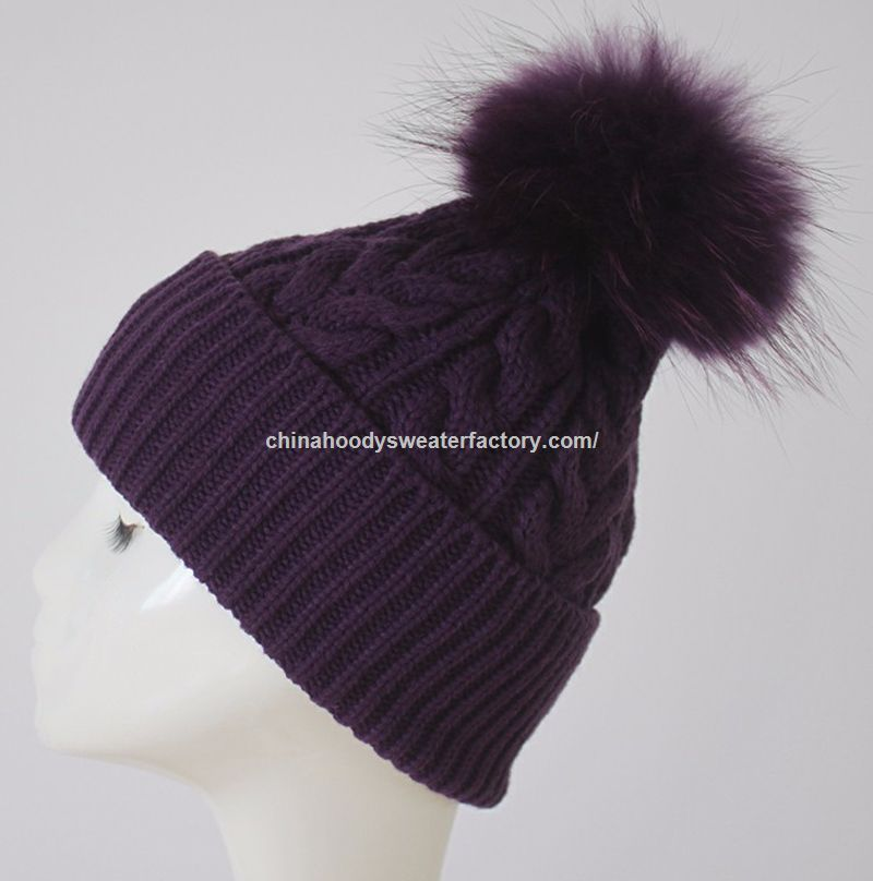 Pilot Cable Knit Beanie Hat with Raccoon Fur