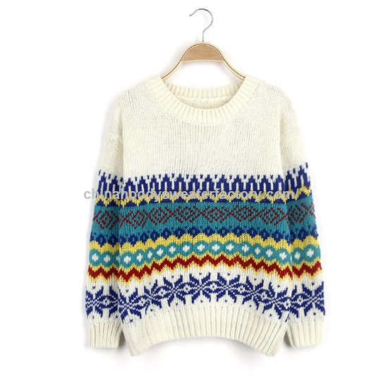 Brief style Winter Autumn geometric pattern sweater for women