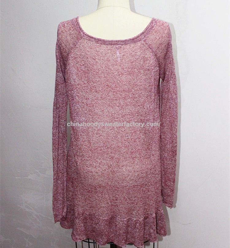 blended wool long design for women knitted lightweight sweater