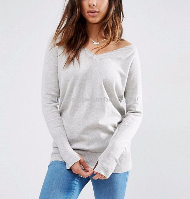 v-neck long sleeve knitted pullover sweater lightweight sweater for women