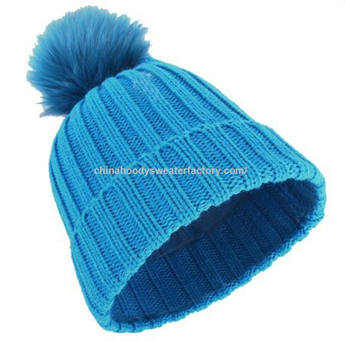 Woman fashion baby blue beanie knitted hat