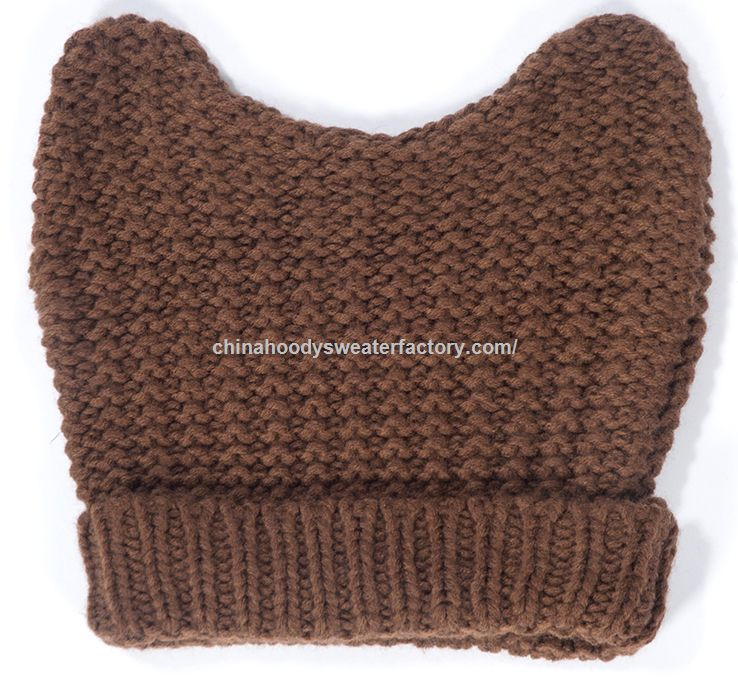 Brown solid color knitted hat of two horns
