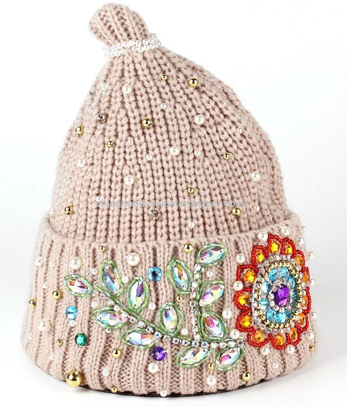 Vogue Women Handmade Flowers Beaded Crochet Knitted Beanie Elegant hats