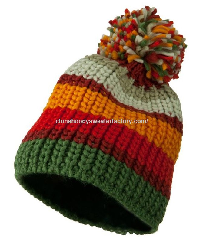 China manufacture top ball winter crochet knitted hat