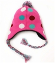 Fashion cute pink warm earflap children girls knitted hat