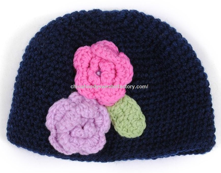 baby girl funky crochet beanie knitted hat with flower